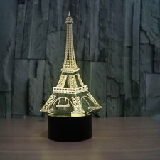 3D Lamp Paris Eifel Tower Optical Illusion Led Night Light 7 Color Touch Switch