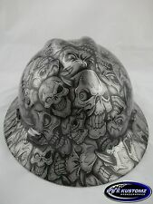 New Custom MSA V-Gard (Full Brim) Hard Hat W/FasTrac Silver Insanity Pattern