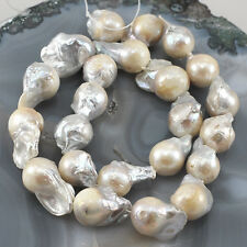 "Natural White Pearl Keshi Reborn 18-24mm Beads 15""(PE87)c for DIY Jewelry"