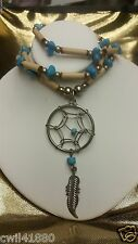 DreamCatcher Feather Necklace Beads Turquoise Ivory Wood Silver Tone Pendant