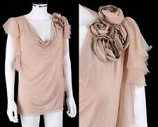 VALENTINO T-SHIRT COUTURE PALE PINK COWL NECK TOP TEE LEATHER ROSETTE DETAIL 4