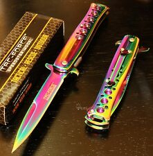 TAC-FORCE Super Rainbow Godfather Stiletto Spring Assisted Opening Pocket Knife