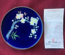 5 inch BLUE INABA FLORAL DESIGN CLOISONNE ENAMELED PLATE -UNSIGNED w/ orig TAG