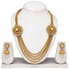 South Indian Traditional Ethnic Gold plated Necklace Earring Temple Jewelery set