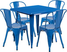 31.5'' Industrial Blue Metal Indoor-Outdoor Restaurant Table Set with 4 Chairs