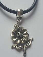 SUN FLOWER TIBETAN SILVER CHARM PENDANT ON BLACK LEATHER CHOKER NECKLACE.