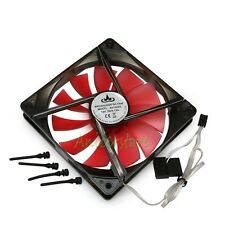 140mm x 25mm 4pin & 3pin PC Case CPU Cooling LED Fan w/ Shock Absorption Screws
