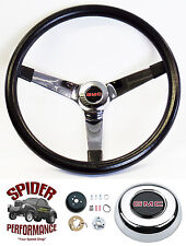 "1948-1959 GMC Pickup steering wheel BLACK CHROME 14 3/4"" Grant steering wheel"