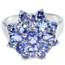 Silver 925 Lovely Genuine Natural Tanzanite Star Design Ring Size R.5  (US 9)