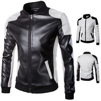 Fashionable Current Slim Fit Punk Men PU Leather Biker Bomer Jacket Coat Blazer