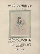 """""""MOUCHOIRS PAUL OLMER"""" Affiche d'intérieur entoilée  Litho Georges REDON 1923"""