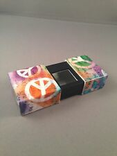 Orange Purple & Green With White Peace Sign Rectangular Pocket Ashtray