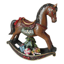 Vintage Style Christmas Rocking Horse Decoration Sparkly Resin  Enchante