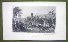 GERMANY Ruins of Sonnenberg Castle - 1840s Antique Print Engraving