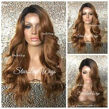Long Full Wig Strawberry Blonde Dark Roots Bangs Layers Loose Waves Heat Safe Ok