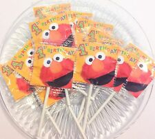 12 ELMO 1ST BIRTHDAY LOLLIPOPS CANDY FOR PARTY FAVORS MADE IN U.S.A