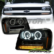 [CCFL Halo] 2002-2009 Chevrolet Chevy Trailblazer Projector Black Headlights Set