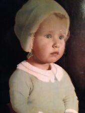 """Antique Print of a Child in Antique Frame So Endearing 16"""" X 25"""""""