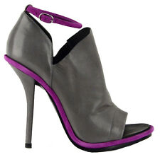 BALENCIAGA SHOES GLOVE SANDALS BOOTIES GRAY AND PURPLE LEATHER 38.5 / 8
