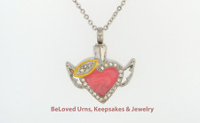 Pink Heart w/ Halo Wings Pendant Cremation Jewelry Keepsake Urn- Necklace Funnel