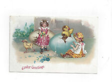 Antique 1914 db Easter Post Card Victorian Girls & Hatching Chicks