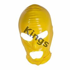 Latex Hood Full Mask Open Mouth & Eyes 3 Holes Stretchy Yellow Gimp Mask Hood