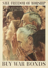 Original Vintage Poster WWII World War II Freedom of Worship Norman Rockwell God