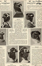ARTICLE PRESSE 1911  PRINT JAPON JAPAN COIFFURE STYLE HAIRSTYLE