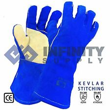 Welding Gloves Welders,Heat Resistant Leather Protective Gauntlets Kevlar Stitch