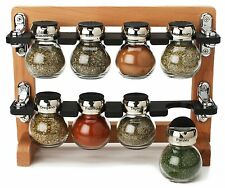 Olde Thompson 8 Jar  Wooden Spice Rack, 25-606