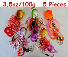 5 pcs Thunder Jigs Each 3.5oz /100g Octopus Saltwater Fishing Lures- 5 Colors