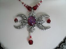 Fire Opal Triple Moon Necklace, wiccan pagan wicca goddess witch witchcraft