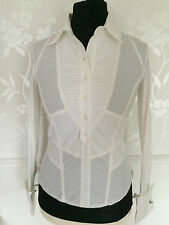 Karen Millen  White Shirt Blouse Top Buckle detail UK 14