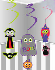 12 x Halloween hanging swirls party decorations witch vampire ghost FREE P&P