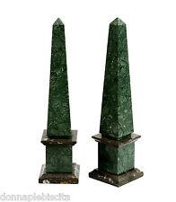 Obelisco Bicolore in Marmo Verde Alpi e Fossile Green Fossil Marble Obelisk 33CM
