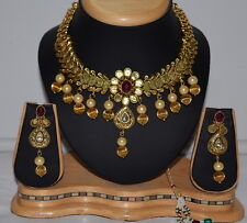 INDIAN Bollywood Polki i gioielli da sposa collana Set placcato in oro antico