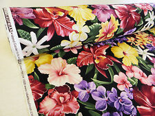 by METRE black BRIGHT Hawaiian floral tropical ISLAND GARDEN Kaufman tiki flower