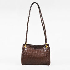 VINTAGE Bottega Veneta Brown & Gold Tone Leather Intrecciato Woven Shoulder Bag