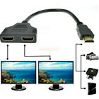 New HDMI 1 to 2 Splitter with Cable M/F 1 IN 2 OUT Duplicator Amplifier HD 1080p