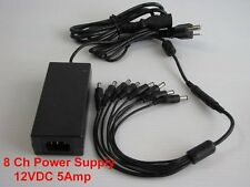 DC 12V 5A Power Supply Adapter +8 Split Power Cable for CCTV Security  DVR