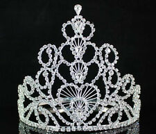 FULL CROWN HEARTS CLEAR AUSTRIAN RHINESTONE CRYSTAL TIARA PAGEANT PARTY T1507