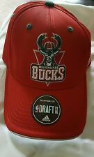MILWAUKEE BUCKS ADIDAS HAT CAP NEW OSFA  NBA DRAFT STYLE FLEX FIT NEW