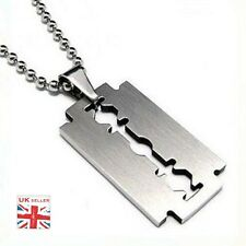 1 x Razor Blade Necklace Silver Stainless Steel Pendant Dog Tag Chain    c1