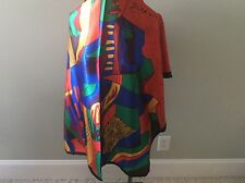 Picasso Silk Square Scarf Face Bright Colars Orange Red Blue Green Golf Yellow