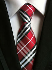 New Classic Checks White Black Red JACQUARD WOVEN 100% Silk Men's Tie Necktie