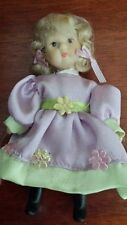 Miniature Porcelain Doll 12cm long with lilac/green Dress