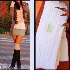 Over the Knee Thigh High Socks Cable Knit OTK Cream Ivory Wool Blend Warm! NEW