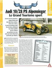 Audi 10/28 PS Alpensieger  1911 GERMANY DEUTSCHLAND Car Auto FICHE FRANCE