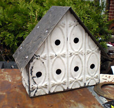 Primitive Hand Tooled Antique Ceiling Tin Tile Wren Bird House USA Shabby Chic