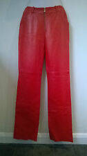 Versace Jeans Couture authentic red Leather lambskin Pants Size 26/40